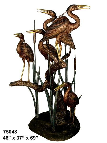 Bronze Heron Fountains - AF 75048