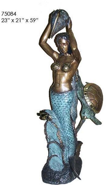 Bronze Mermaid Turtle Statue - AF 75084-S