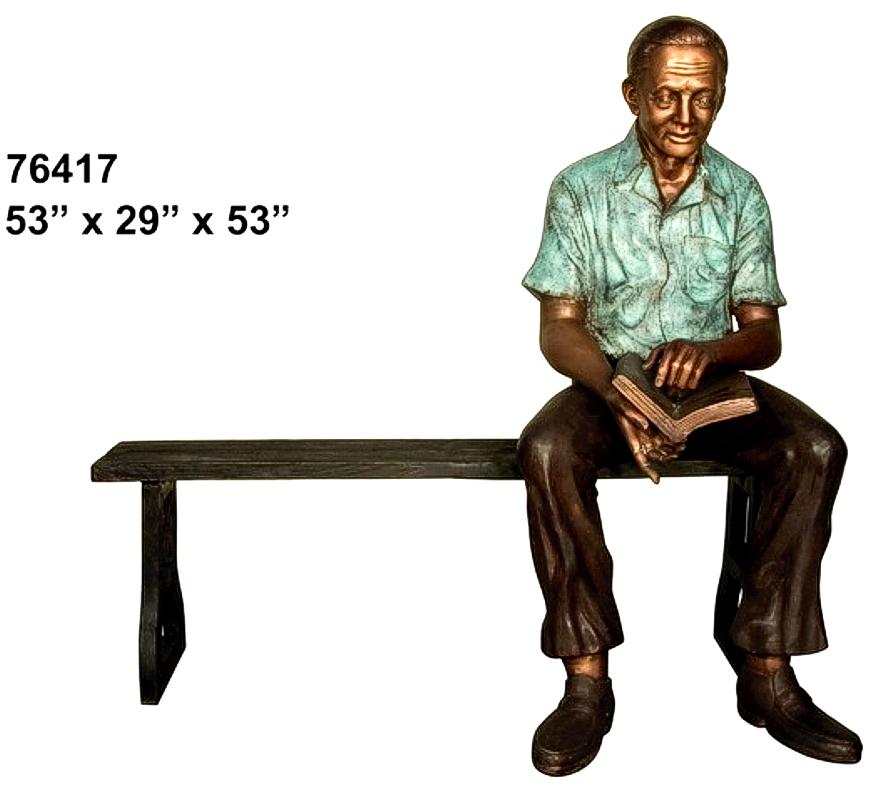 Bronze Man on Bench - AF 76417