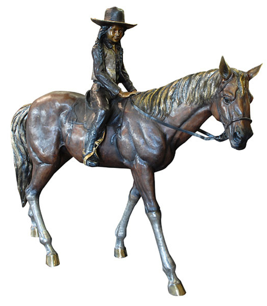 Bronze Girl Riding Horse Statue - AF 76419TS