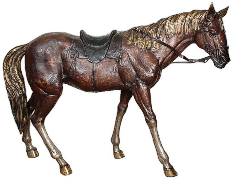 Western Saddle Bronze Horse Statue