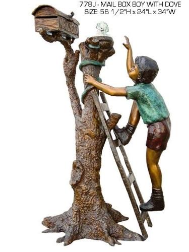 Bronze Boy Climbing Mailbox