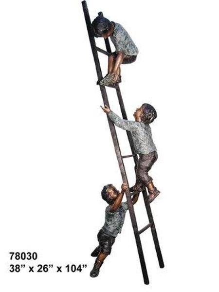 Bronze Boys Ladder Statue - AF 78030