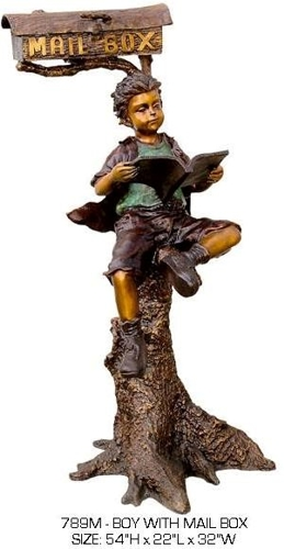 Bronze Boy Reading in Tree Mailbox - ASB 789M