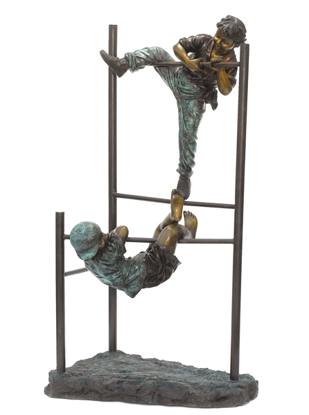 Bronze Boys Monkey Bars Statue - ASB 793