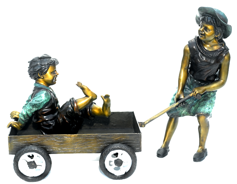 Bronze Sister Brother Wagon Statue - ASB 796