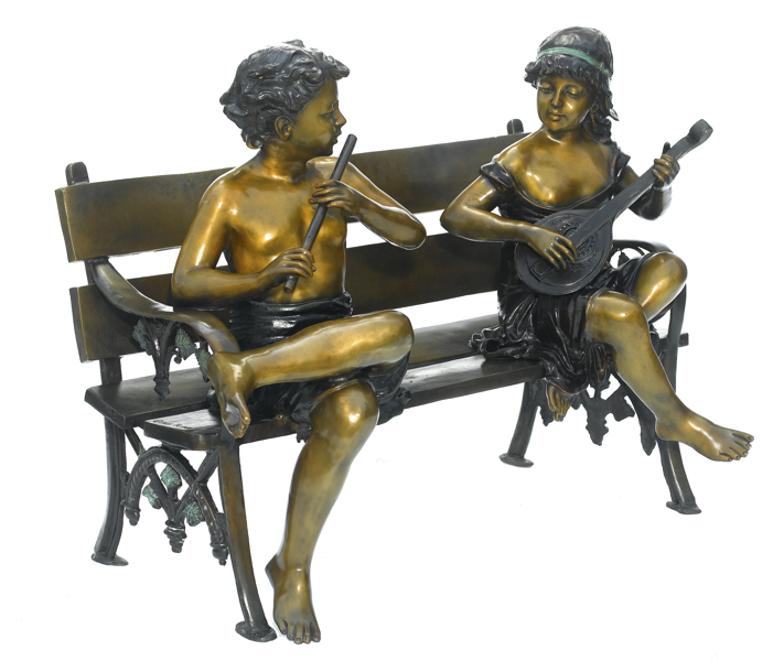 Bronze Children Musician Bench Statue - ASB 799