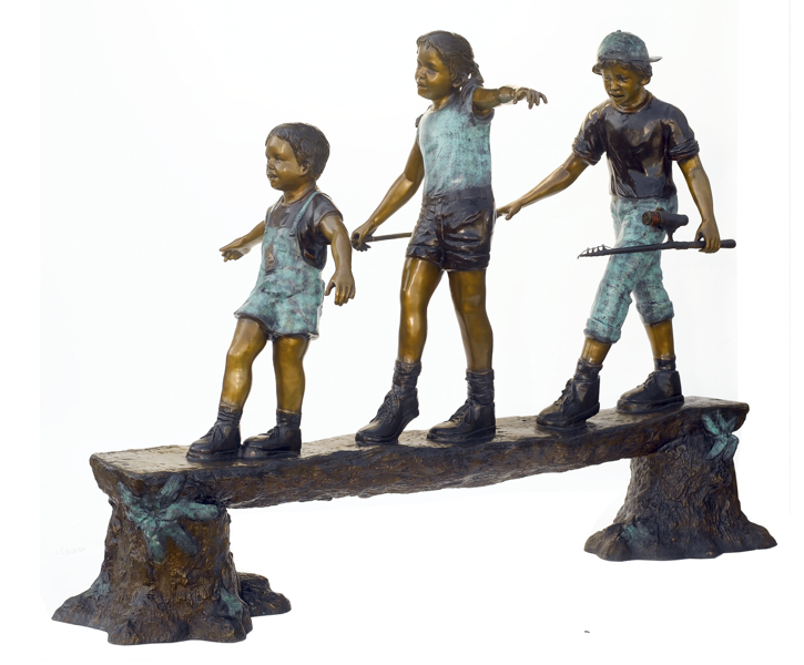 Bronze Kids Tree Log Statue - ASB 802