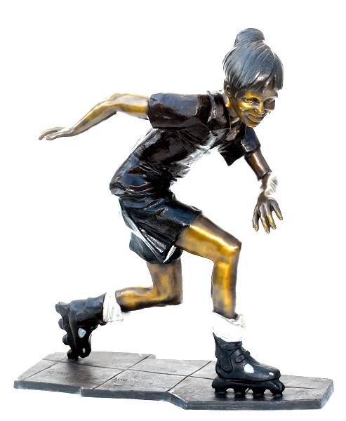 Bronze Roller Blade Statue