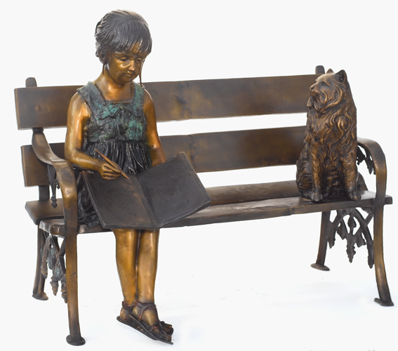 Bronze Child on Bench Reading - ASB 808