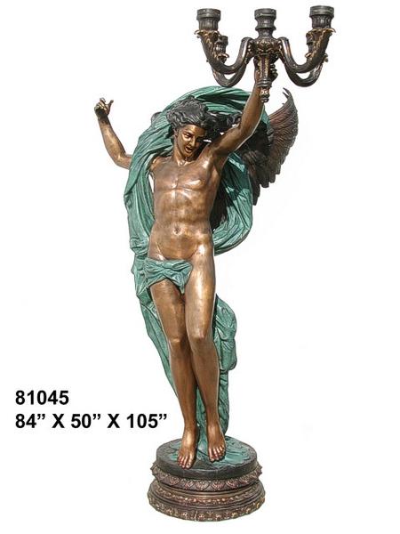 Bronze Angel Candelabra or Torchiere Light