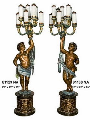 Bronze Children Torchiere