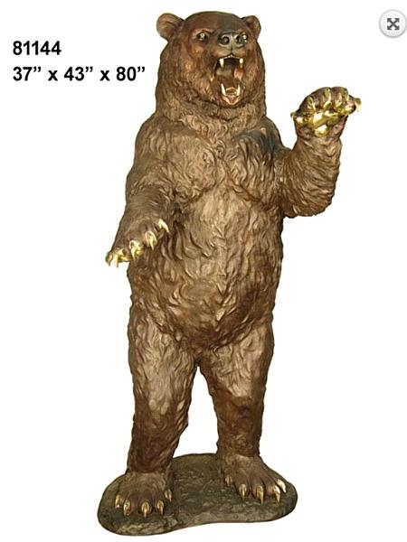 Standing, Growling Bronze Bear Statue