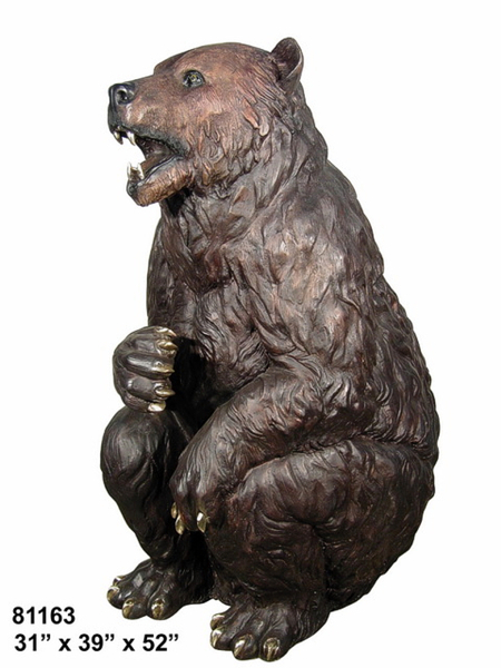 Sitting Growling Bronze Bear Statue - AF 81163
