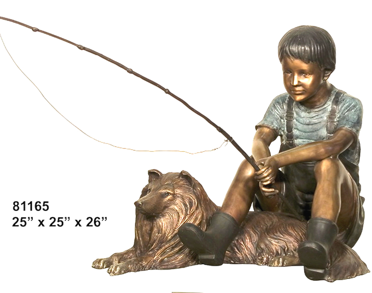Bronze Boy & Dog Fishing Statue - AF 81165