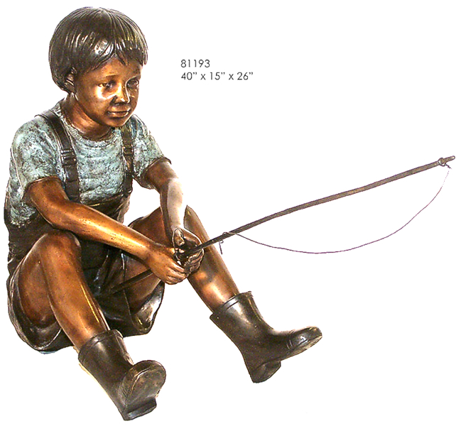 Bronze Boy Fishing Statue - AF 81193
