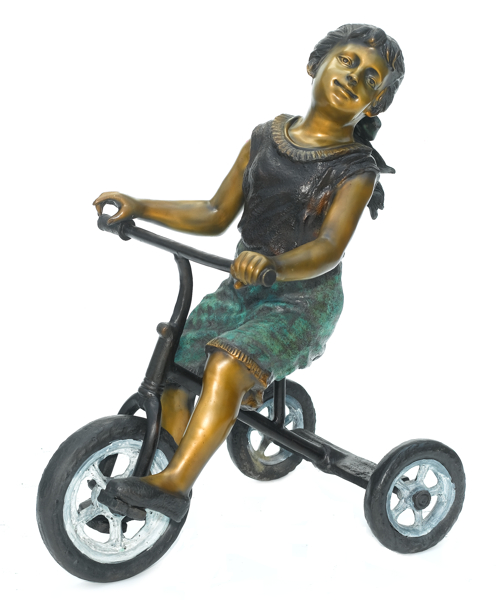 Bronze Girl on Tricycle Statue - ASB 813