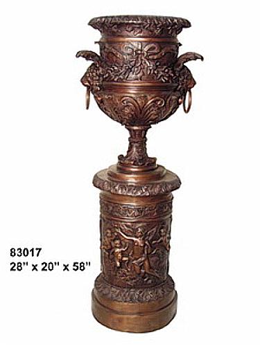 Bronze Lion Pedestal Urn - AF 83017