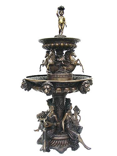 Bronze Musical Ladies Horse Fountain - AF 83030BR