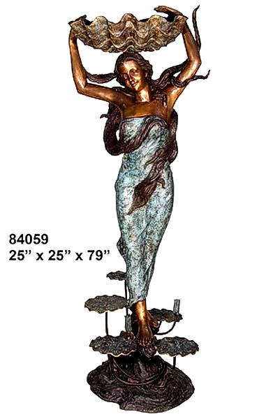 Bronze Lady Shell Statue - AF 84059-S