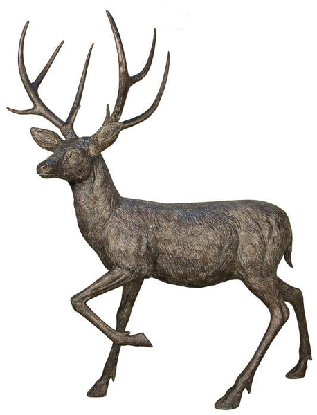 Walking Bronze Deer Statue - AF 84071