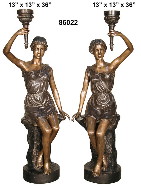 Bronze Ladies Torchiere Lamps - AF 86022