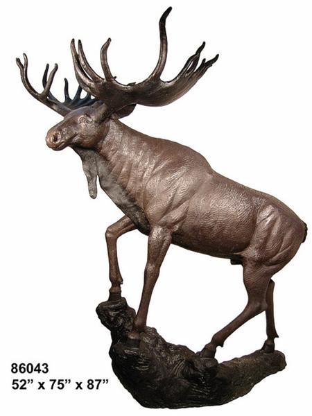 Bronze Moose Statue - AF 86043