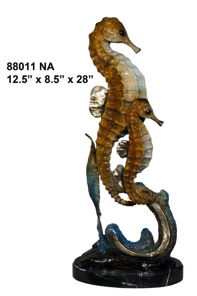 Bronze Sea Horse Statues - AF 88011-NA