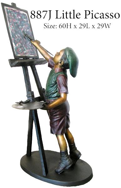 Bronze Boy Picasso Artist Statue - ASB 887J