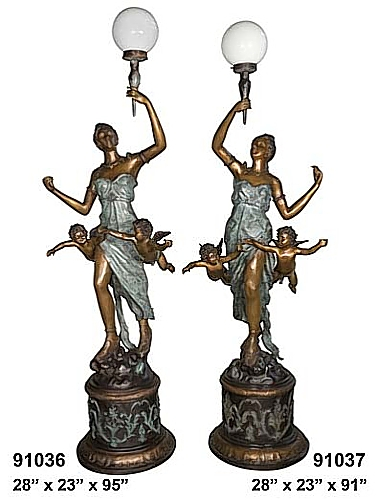 Bronze Ladies Torchiere Lamps - AF 91036/37