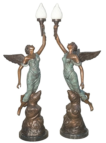 Bronze Angels Torchiere Lamps