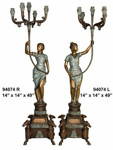 Bronze Ladies Candelabra or Torchiere Light - AF 94074