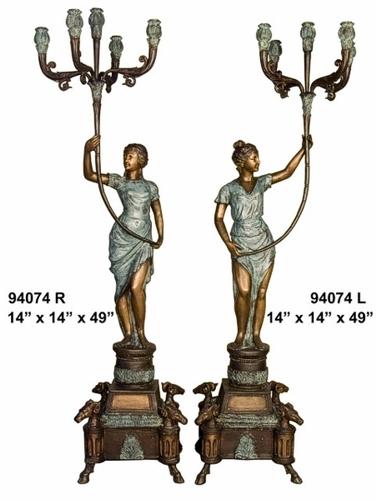 Bronze Ladies Candelabra or Torchiere Light