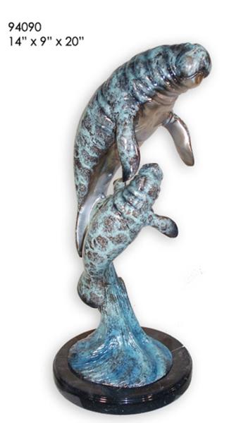 Bronze Manatee, Calf Statue - AF 94090-S