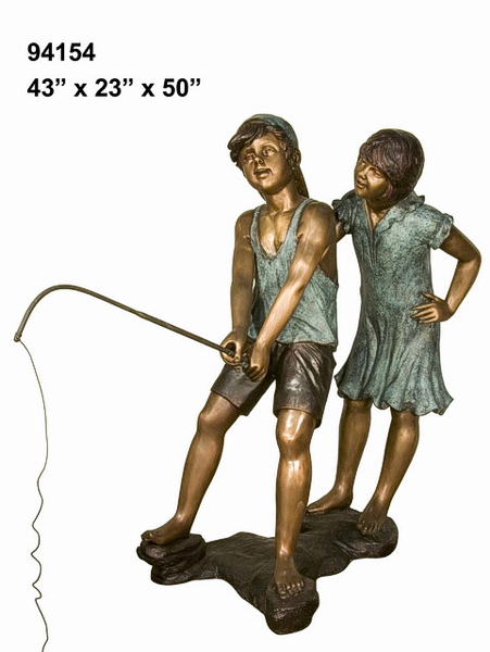 Bronze Boy & Girl Fishing Statue - AF 94154