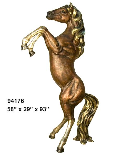 Bronze Rearing Horse Statue - AF 94176