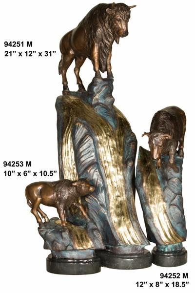 Bronze Bison Statues - AF 94251-53M