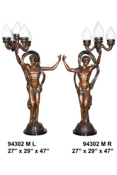 Bronze Ladies Torchiere Lamps - AF 94302M