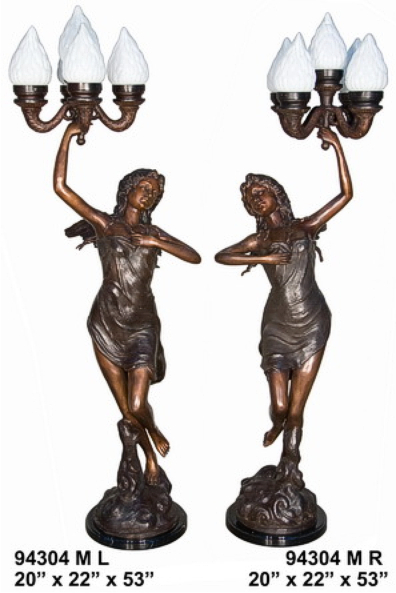 Bronze Ladies Torchiere Lamps - AF 94304M