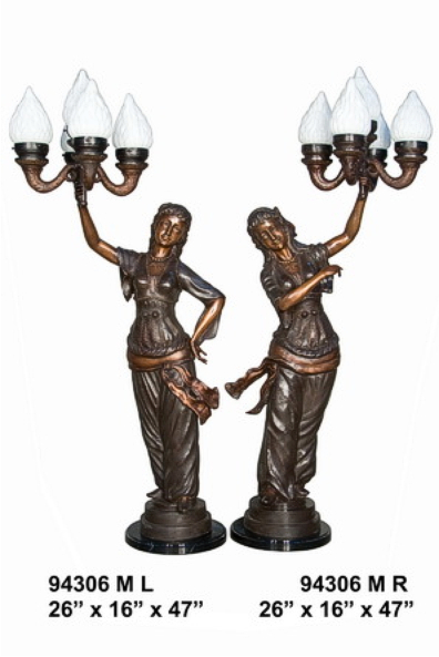 Bronze Ladies Torchiere Lamps - AF 94306M