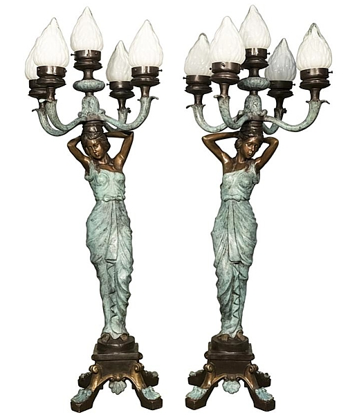 Bronze Ladies Torchiere Lamps - AF 94307 BG R