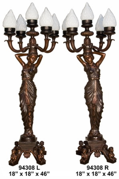 Bronze Ladies Torchiere Lamps - AF 94308