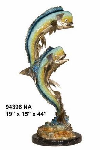Bronze Jumping Dorado Statues - AF 94396 NA