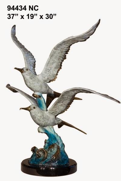 Bronze Seagull in Flight Statue - AF 94434NC