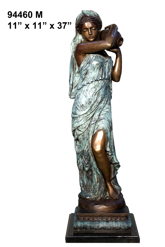 Bronze Lady with Urn Statue - AF 94460M