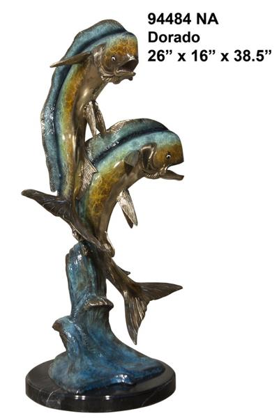 Bronze Jumping Dorado Statues - AF 94484NA
