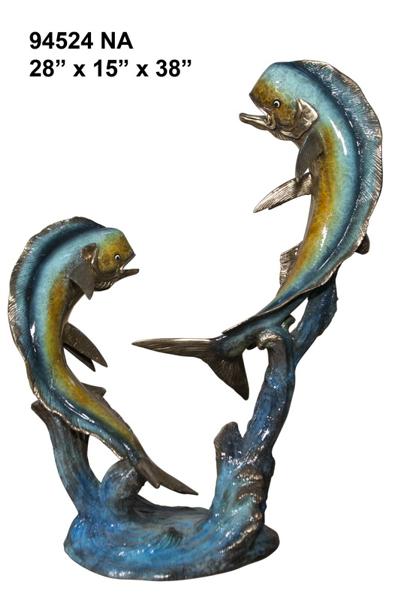 Bronze Jumping Dorado Statues - AF 94524NA