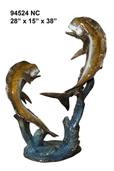 Bronze Jumping Dorado Statues - AF 94524NC