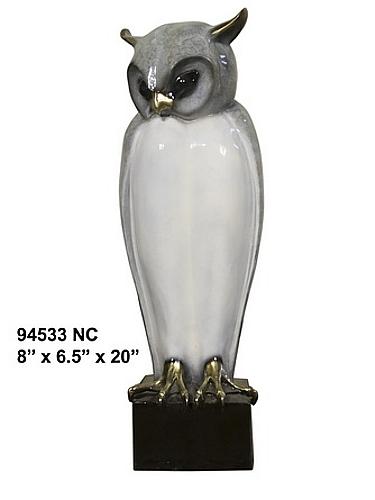 Bronze Owl Marble Base Statue - AF 94533NC