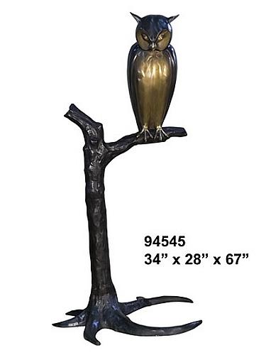 Bronze Owl on Tree Statue - AF 94545